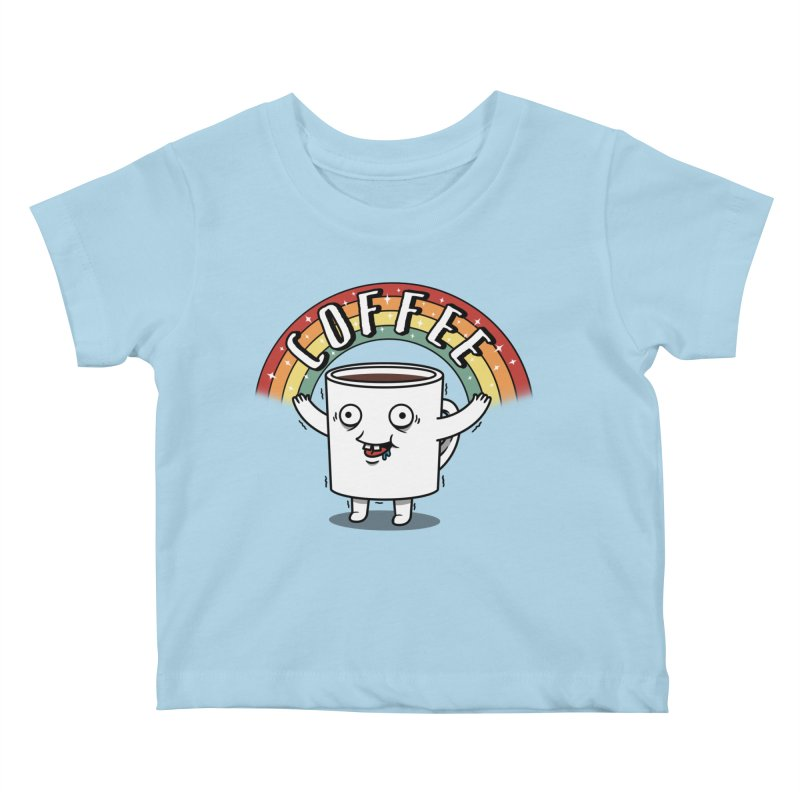 Start the day with Coffee Kids Baby T-Shirt by Pigboom's Artist Shop