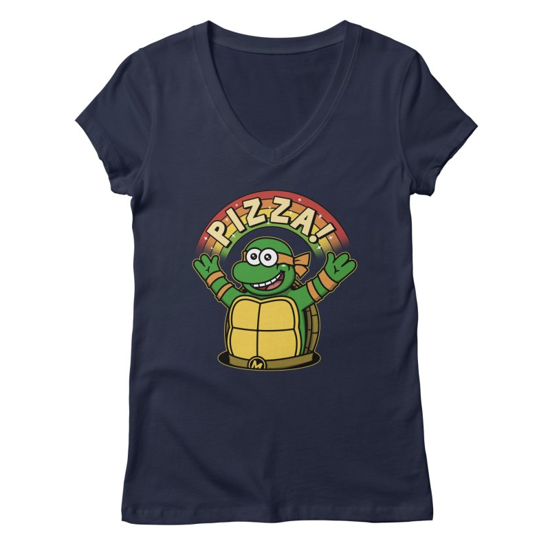 As long as we have Pizza! Women's Regular V-Neck by Pigboom's Artist Shop