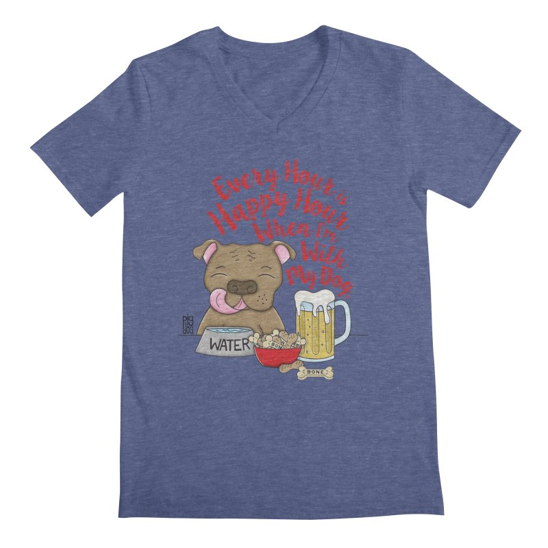 Happy Hour Men's V-Neck by Pigdog