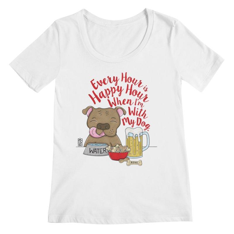 Happy Hour Women's Regular Scoop Neck by Pigdog