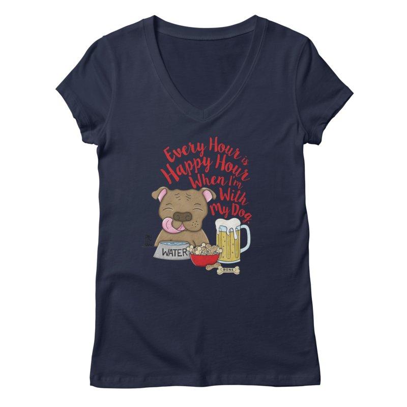 Happy Hour Women's Regular V-Neck by Pigdog