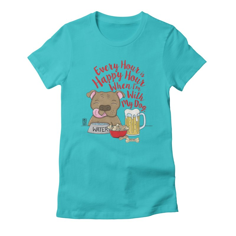 Happy Hour Women's Fitted T-Shirt by Pigdog
