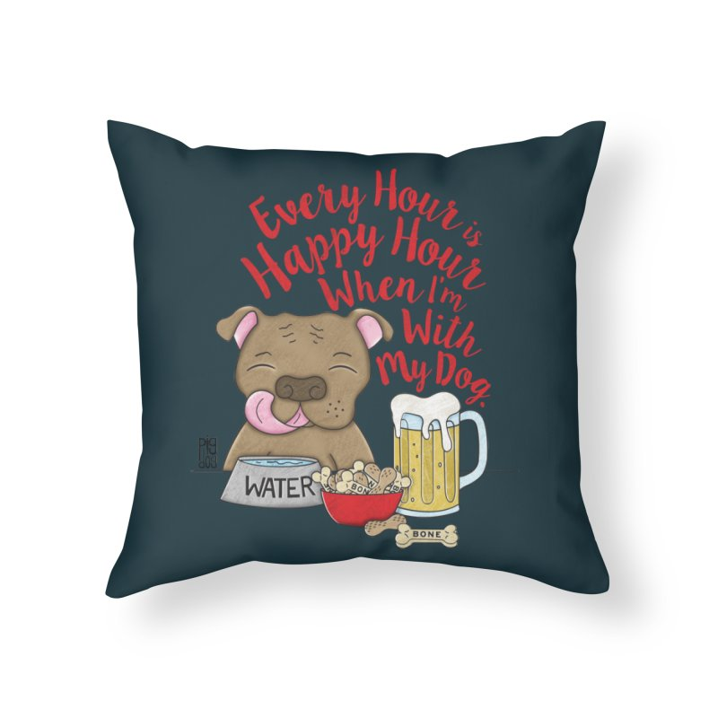 Happy Hour Home Throw Pillow by Pigdog