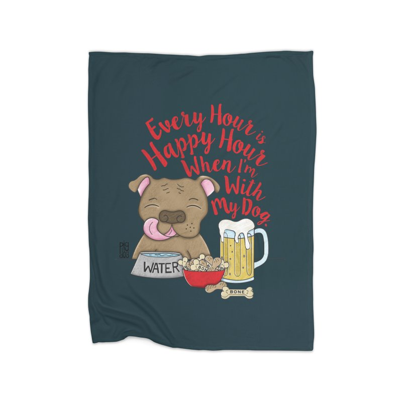 Happy Hour Home Fleece Blanket Blanket by Pigdog