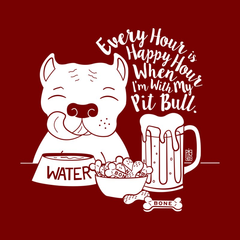 Pit Bull Happy Hour Men's T-Shirt by Pigdog