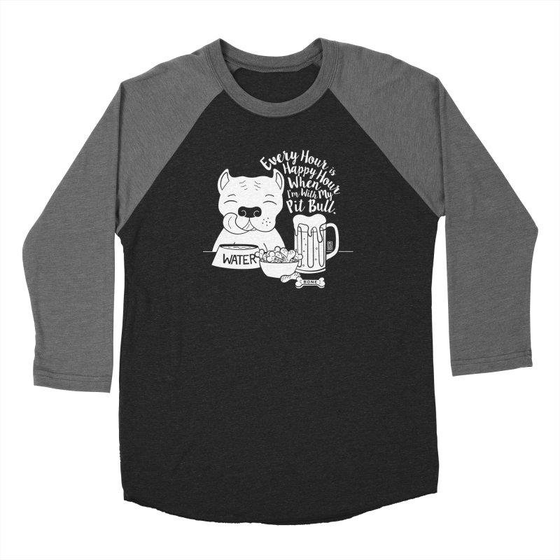 Pit Bull Happy Hour Men's Baseball Triblend Longsleeve T-Shirt by Pigdog