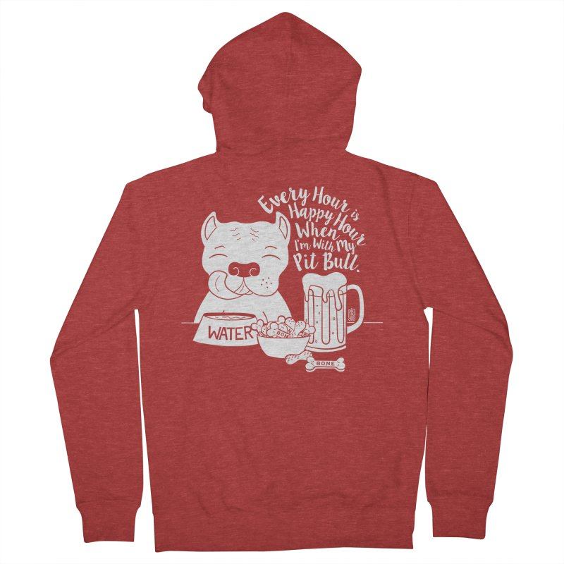 Pit Bull Happy Hour Men's French Terry Zip-Up Hoody by Pigdog