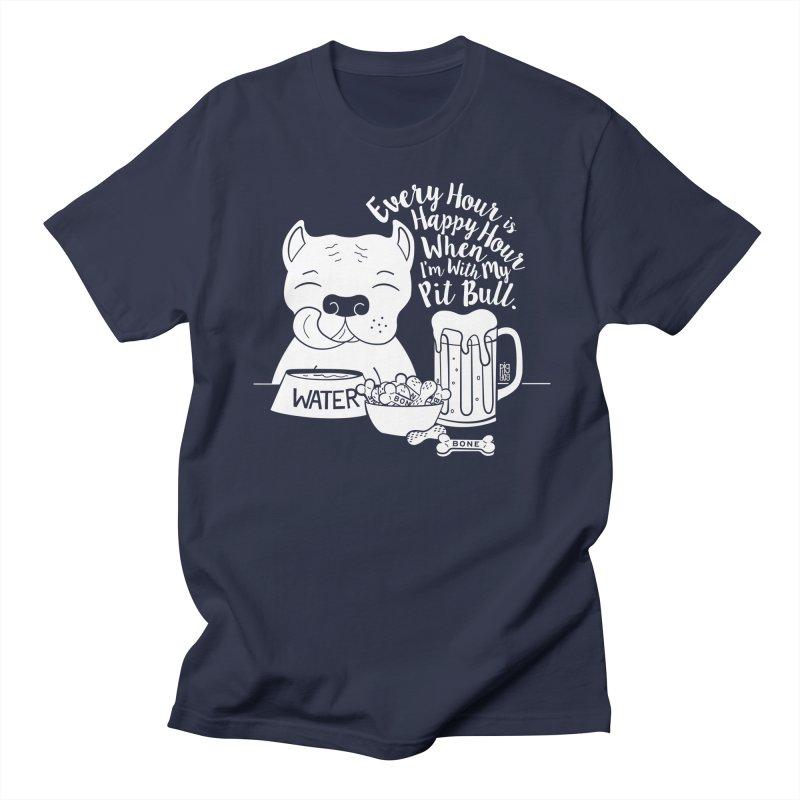 Pit Bull Happy Hour Men's T-Shirt by Pigdog