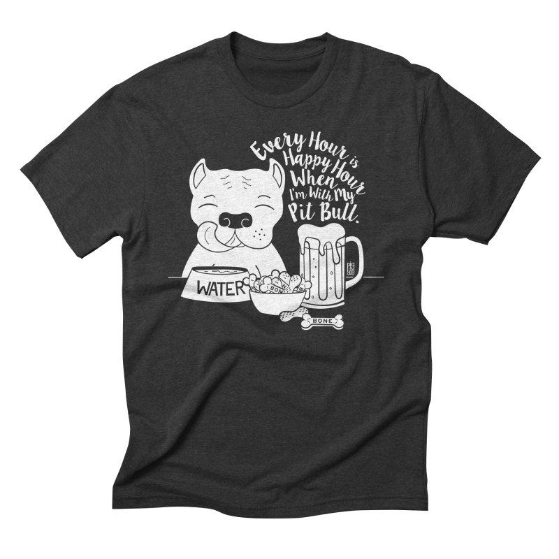 Pit Bull Happy Hour Men's Triblend T-Shirt by Pigdog