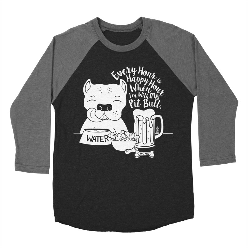 Pit Bull Happy Hour Men's Baseball Triblend Longsleeve T-Shirt by Pigdog