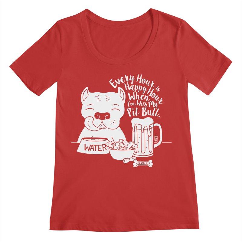 Pit Bull Happy Hour Women's Scoop Neck by Pigdog