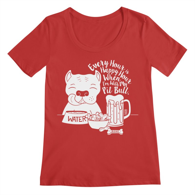 Pit Bull Happy Hour Women's Scoop Neck by Pigdog