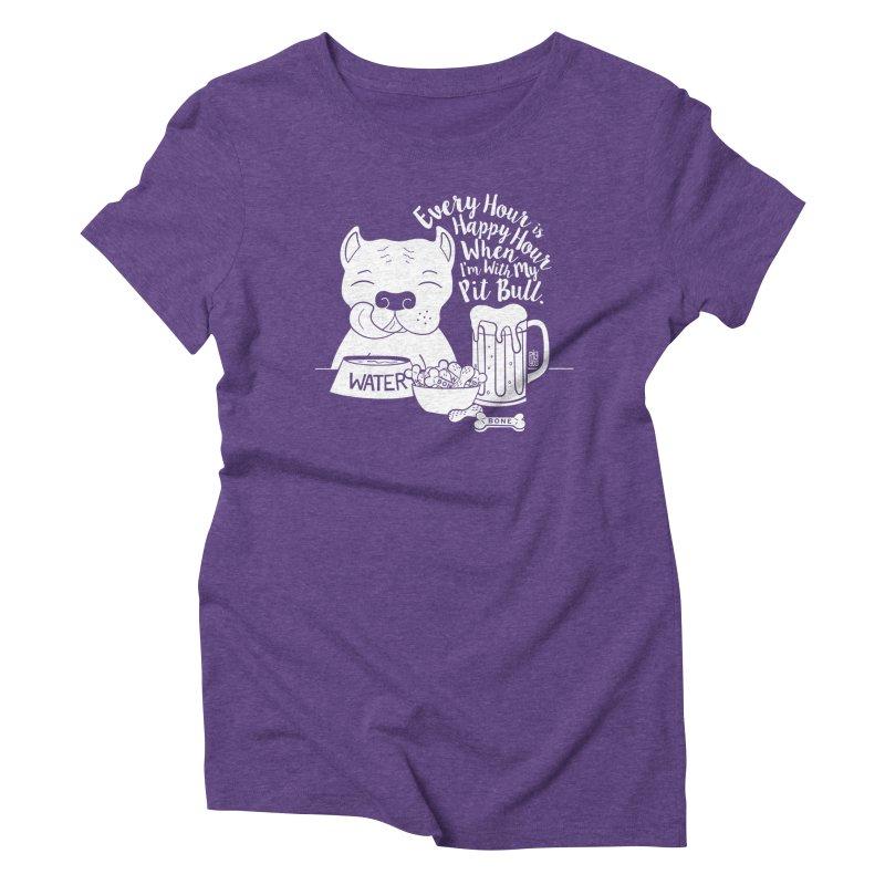 Pit Bull Happy Hour Women's Triblend T-Shirt by Pigdog