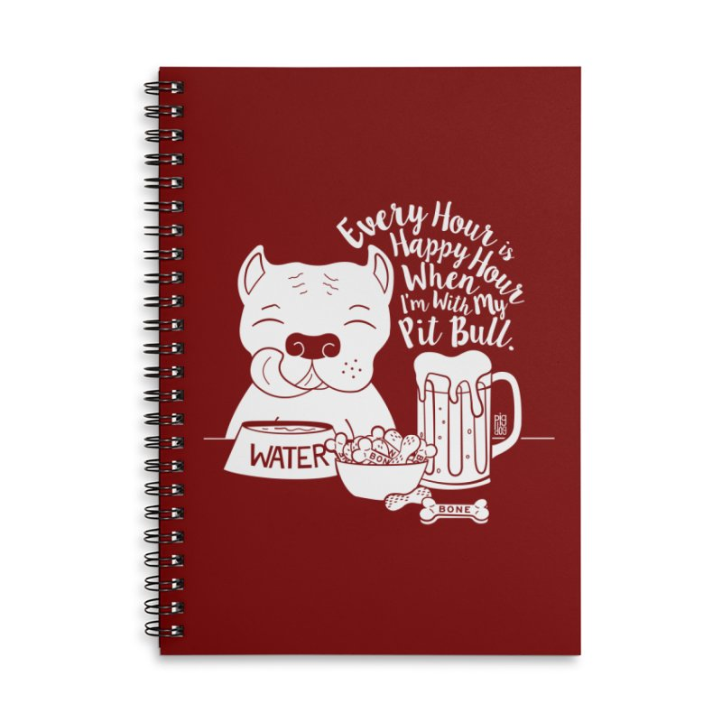 Pit Bull Happy Hour Accessories Lined Spiral Notebook by Pigdog