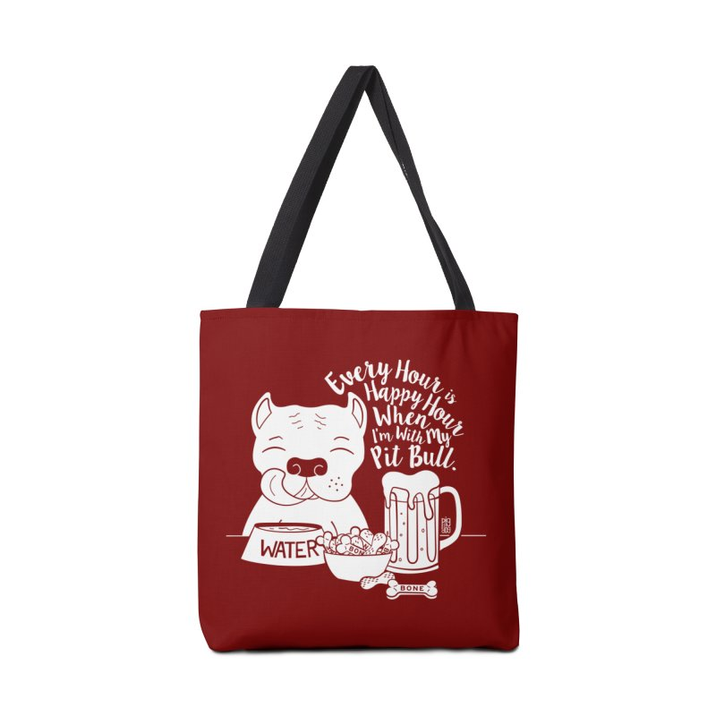 Pit Bull Happy Hour Accessories Tote Bag Bag by Pigdog