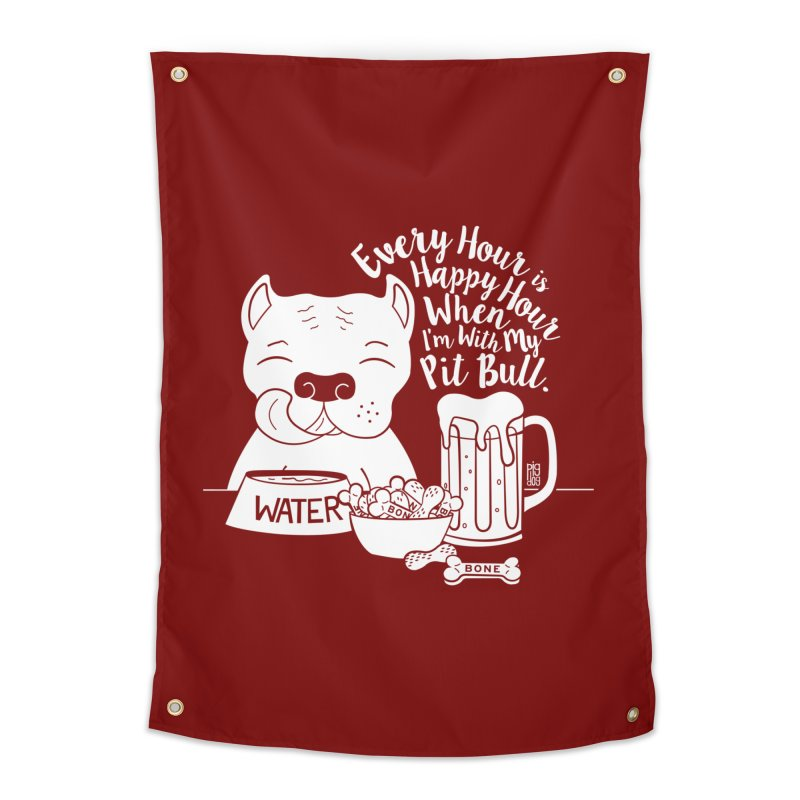 Pit Bull Happy Hour Home Tapestry by Pigdog