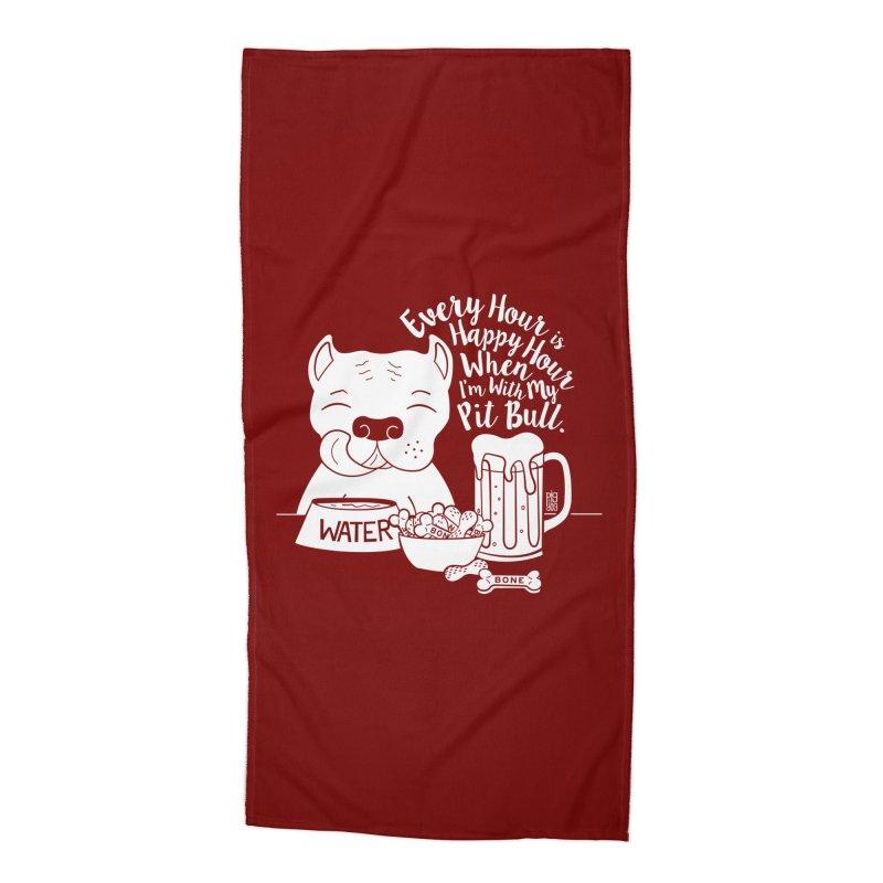 Pit Bull Happy Hour Accessories Beach Towel by Pigdog