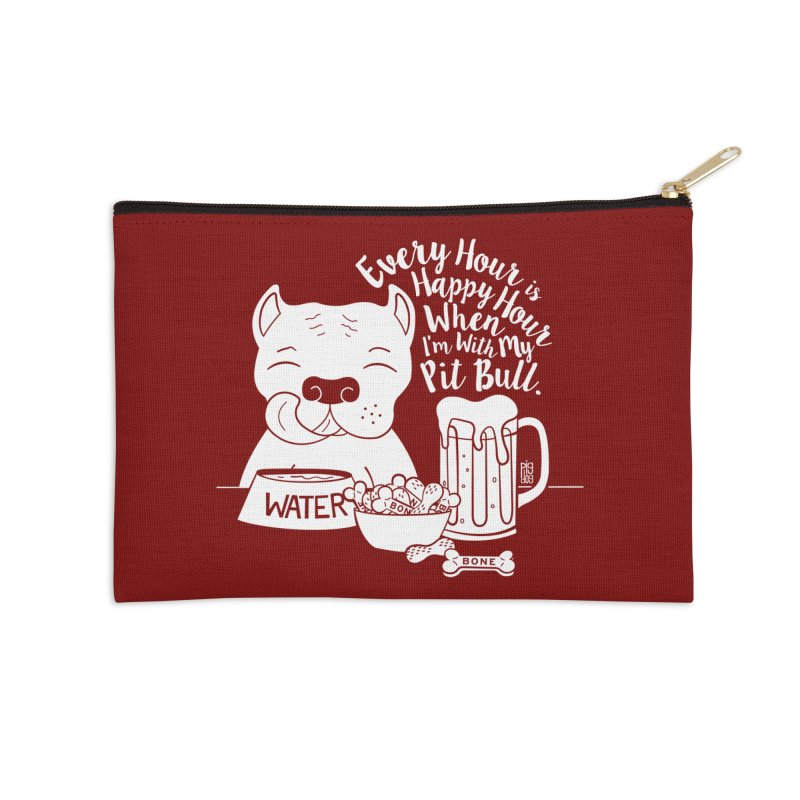 Pit Bull Happy Hour Accessories Zip Pouch by Pigdog