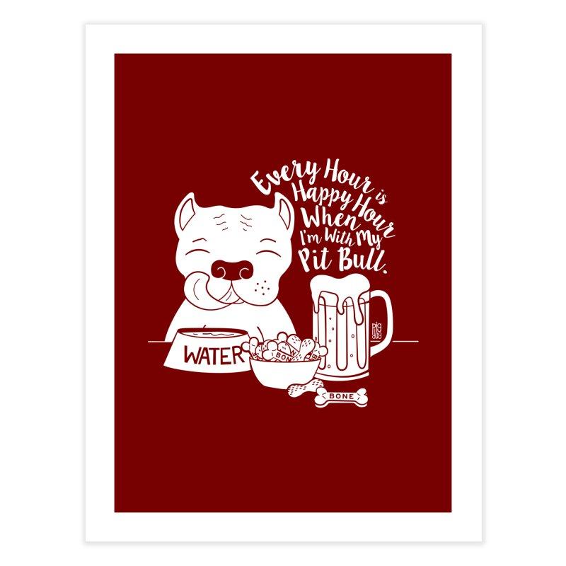 Pit Bull Happy Hour Home Fine Art Print by Pigdog