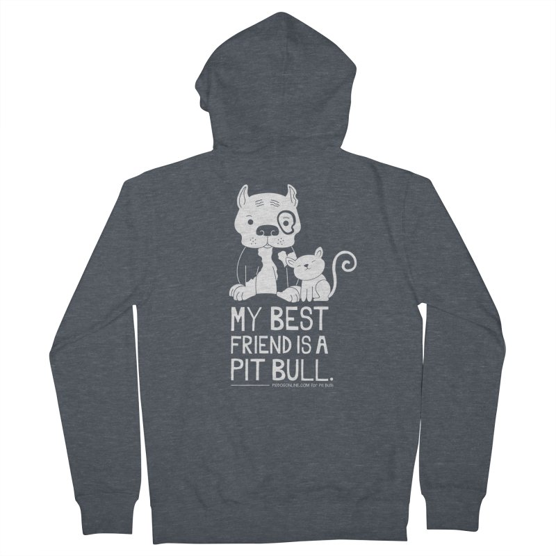 Pittie and Kitty Best Friend Men's French Terry Zip-Up Hoody by Pigdog