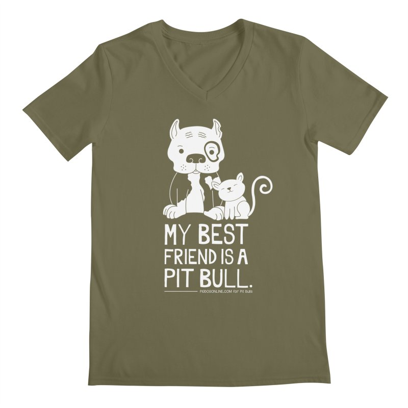 Pittie and Kitty Best Friend Men's Regular V-Neck by Pigdog