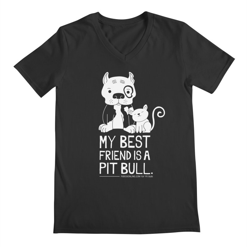 Pittie and Kitty Best Friend Men's V-Neck by Pigdog