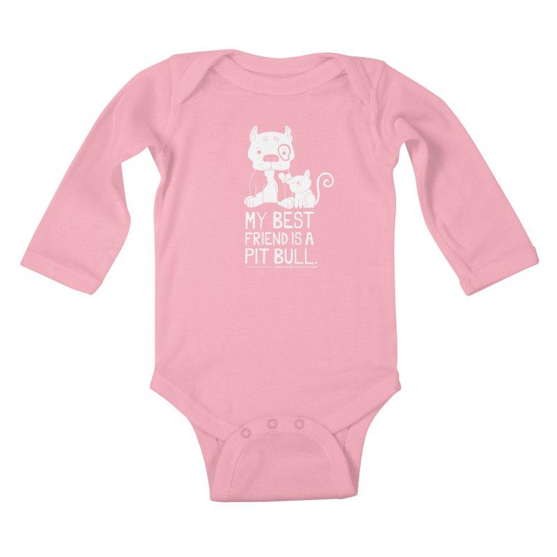 Pittie and Kitty Best Friend Kids Baby Longsleeve Bodysuit by Pigdog