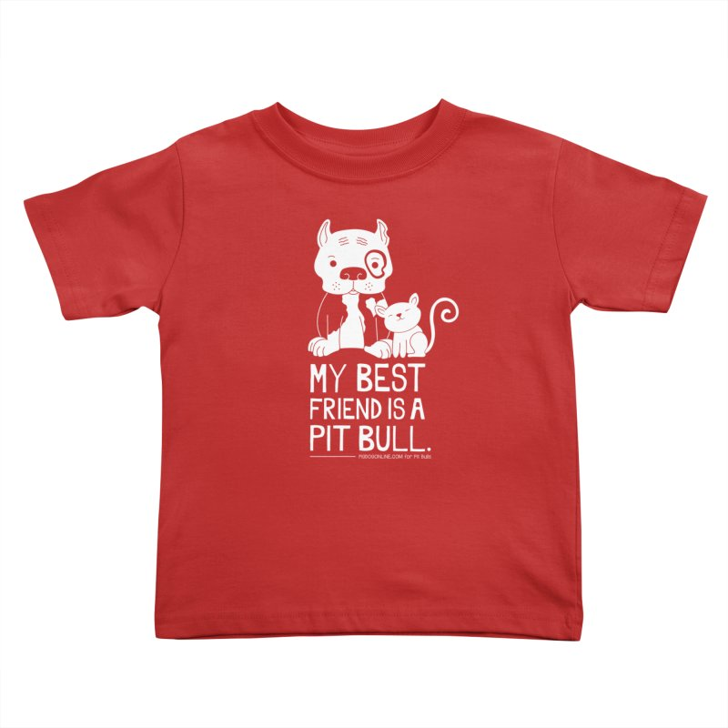 Pittie and Kitty Best Friend Kids Toddler T-Shirt by Pigdog