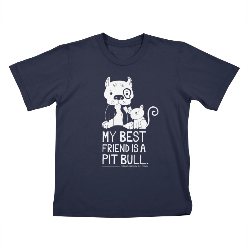 Pittie and Kitty Best Friend Kids T-Shirt by Pigdog