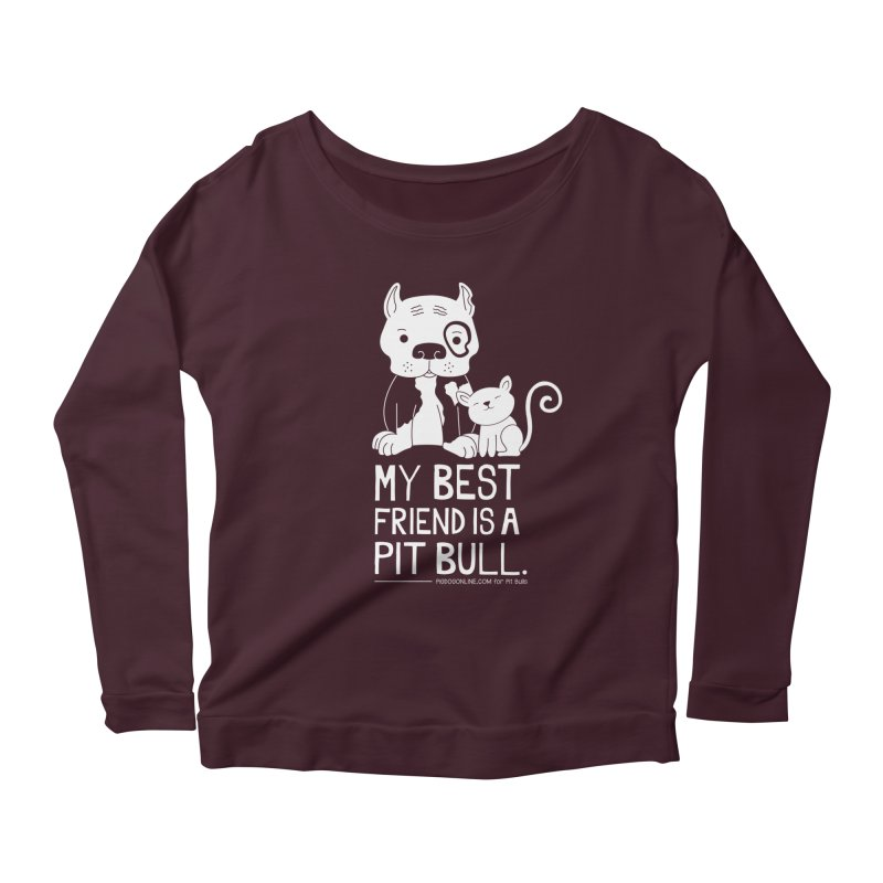 Pittie and Kitty Best Friend Women's Scoop Neck Longsleeve T-Shirt by Pigdog