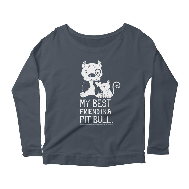 Pittie and Kitty Best Friend Women's Scoop Neck Longsleeve T-Shirt by Pigdog