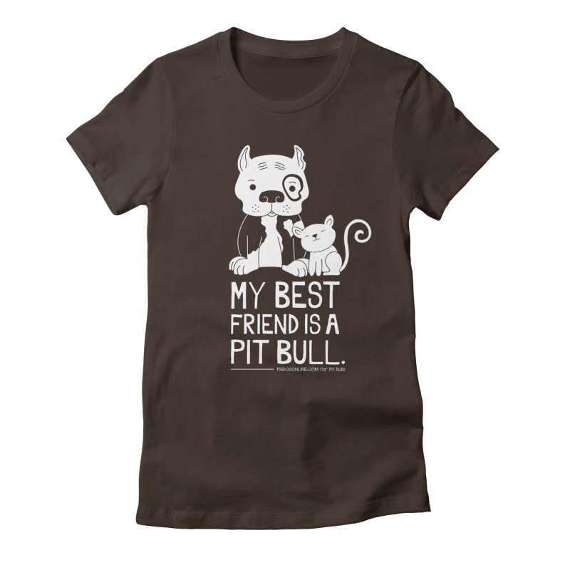 Pittie and Kitty Best Friend Women's Fitted T-Shirt by Pigdog