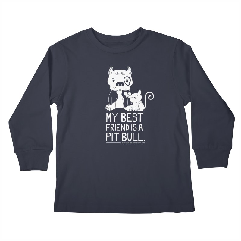Pittie and Kitty Best Friend Kids Longsleeve T-Shirt by Pigdog