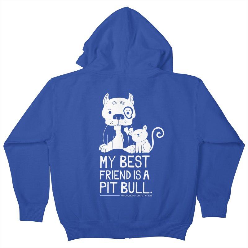 Pittie and Kitty Best Friend Kids Zip-Up Hoody by Pigdog