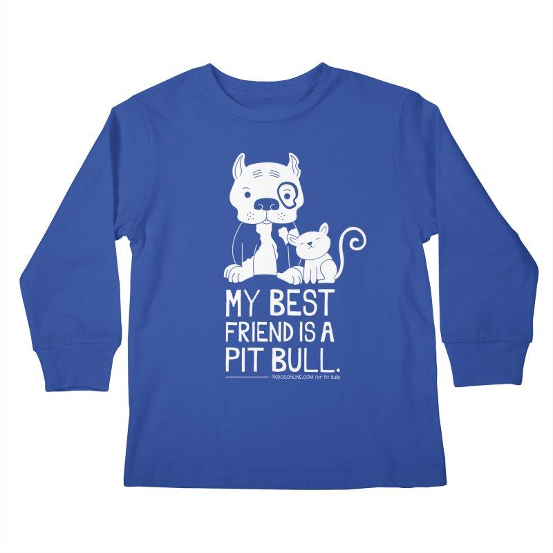 Pittie and Kitty Best Friend Kids Longsleeve T-Shirt by Pigdog