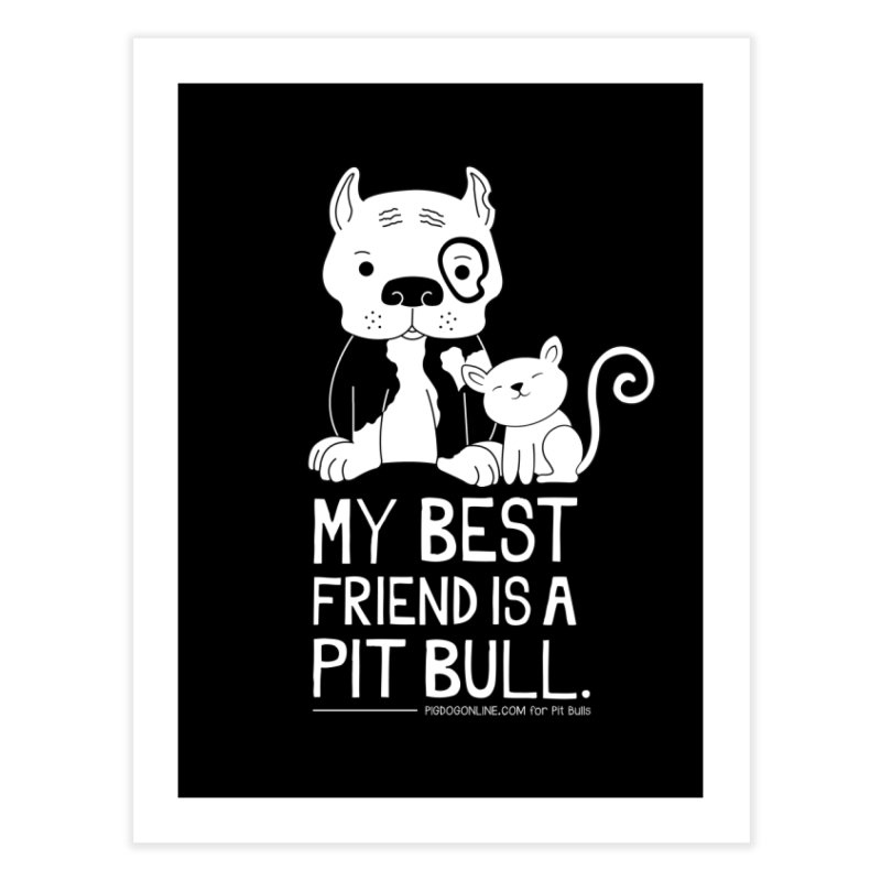 Pittie and Kitty Best Friend Home Fine Art Print by Pigdog