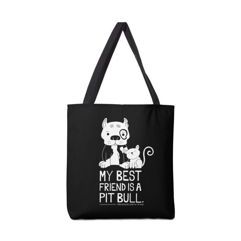 Pittie and Kitty Best Friend Accessories Tote Bag Bag by Pigdog