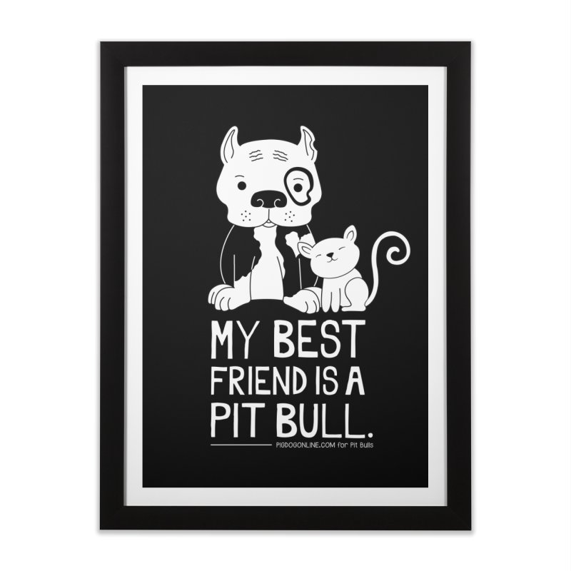Pittie and Kitty Best Friend Home Framed Fine Art Print by Pigdog