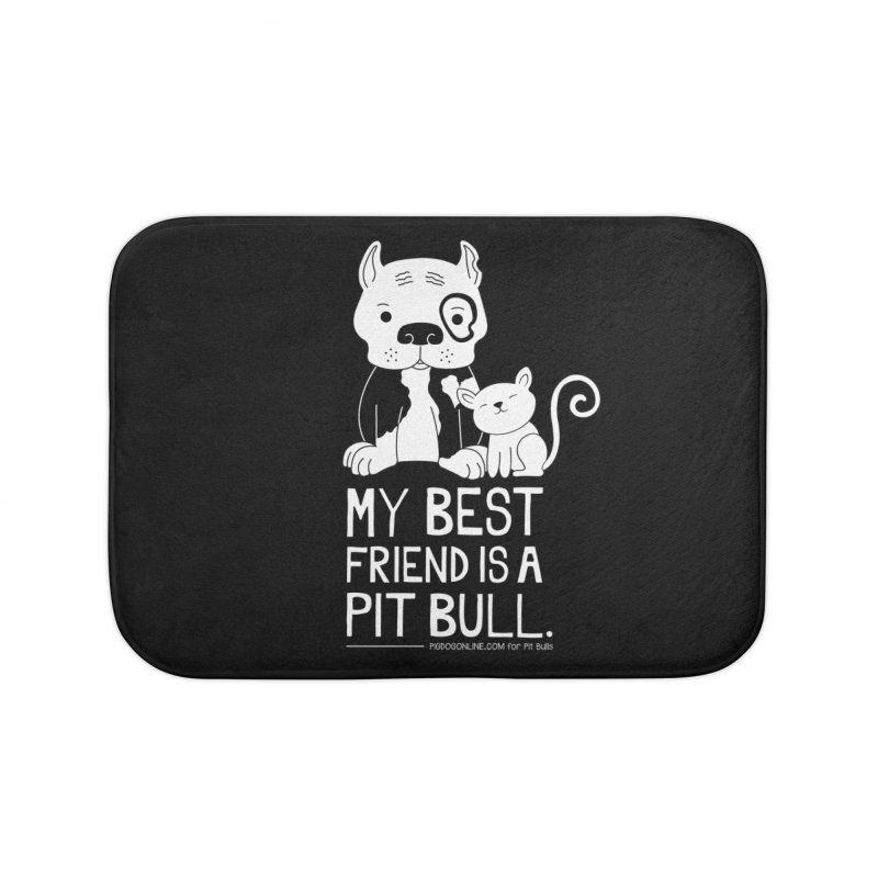 Pittie and Kitty Best Friend Home Bath Mat by Pigdog