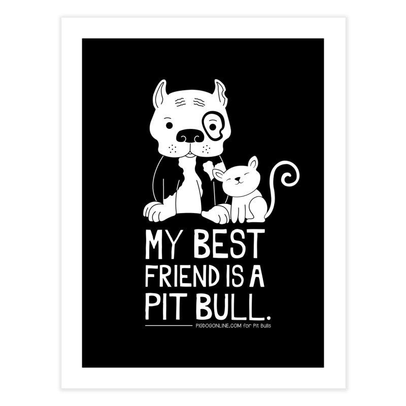 Pittie and Kitty Best Friend Home Fine Art Print by Pigdog