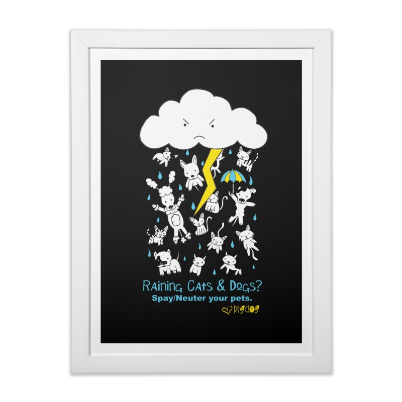 Raining Cats And Dogs Home Framed Fine Art Print by Pigdog