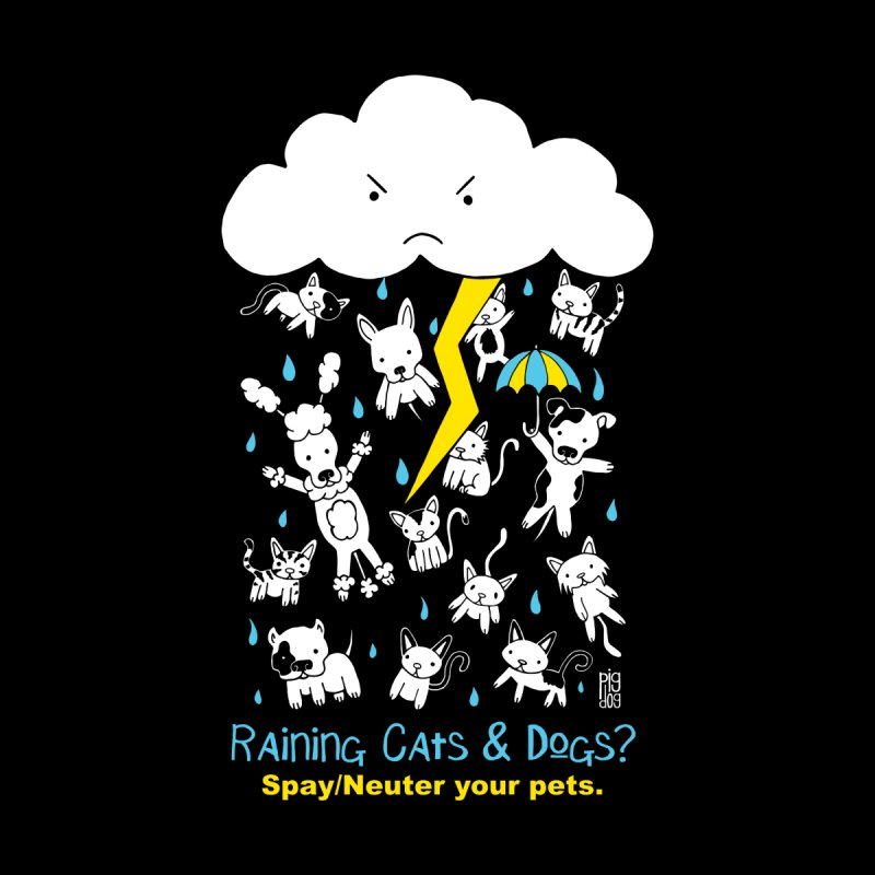 Raining Cats And Dogs Men's T-Shirt by Pigdog