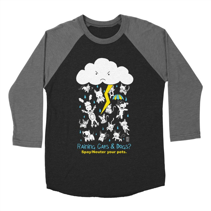 Raining Cats And Dogs Men's Baseball Triblend T-Shirt by Pigdog