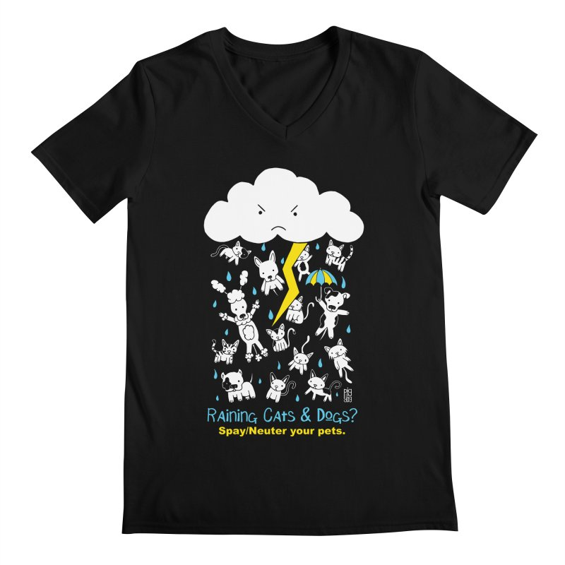 Raining Cats And Dogs Men's V-Neck by Pigdog
