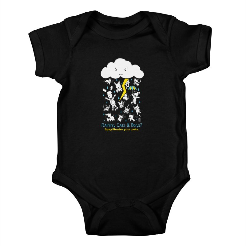 Raining Cats And Dogs Kids Baby Bodysuit by Pigdog
