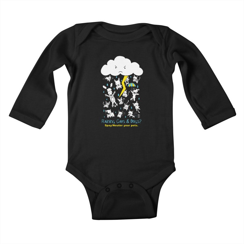 Raining Cats And Dogs Kids Baby Longsleeve Bodysuit by Pigdog