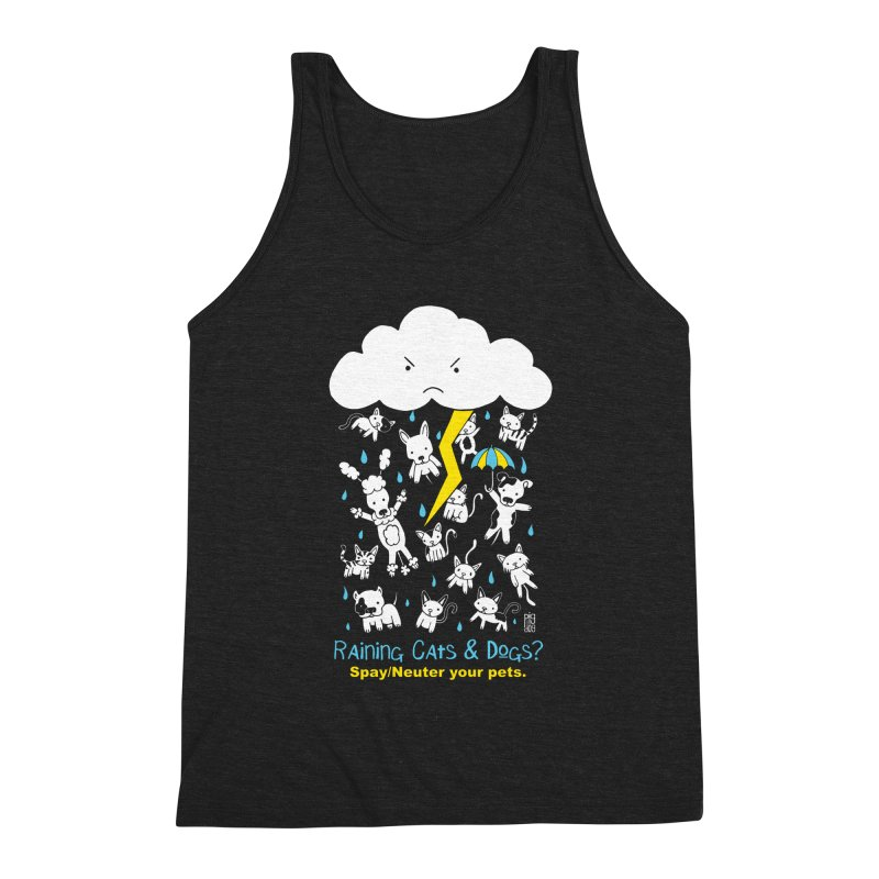 Raining Cats And Dogs Men's Triblend Tank by Pigdog