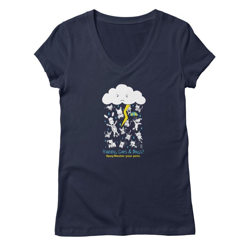 Raining Cats And Dogs Women's V-Neck by Pigdog