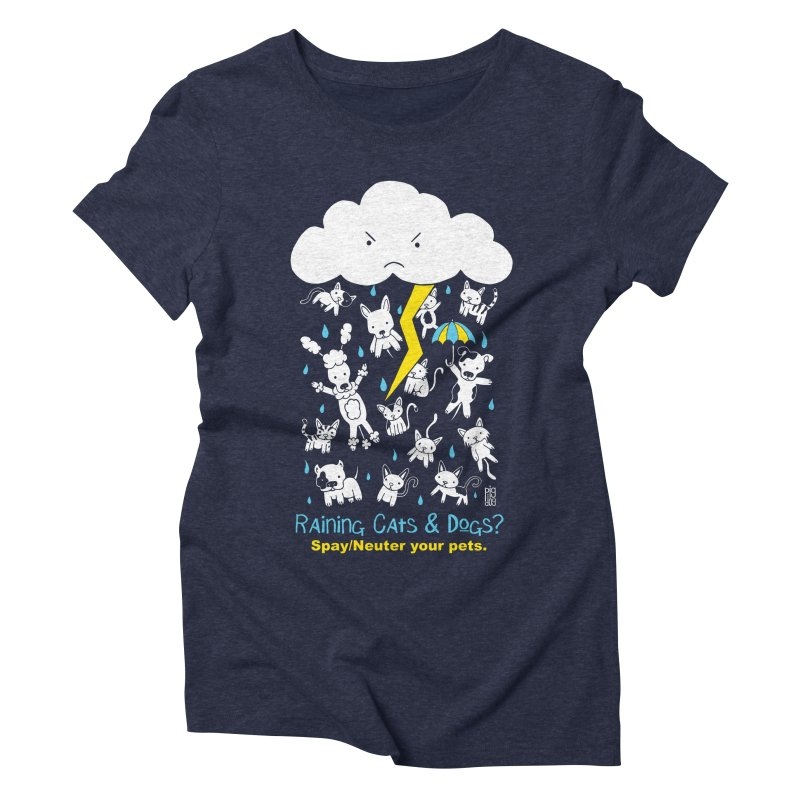 Raining Cats And Dogs Women's Triblend T-Shirt by Pigdog