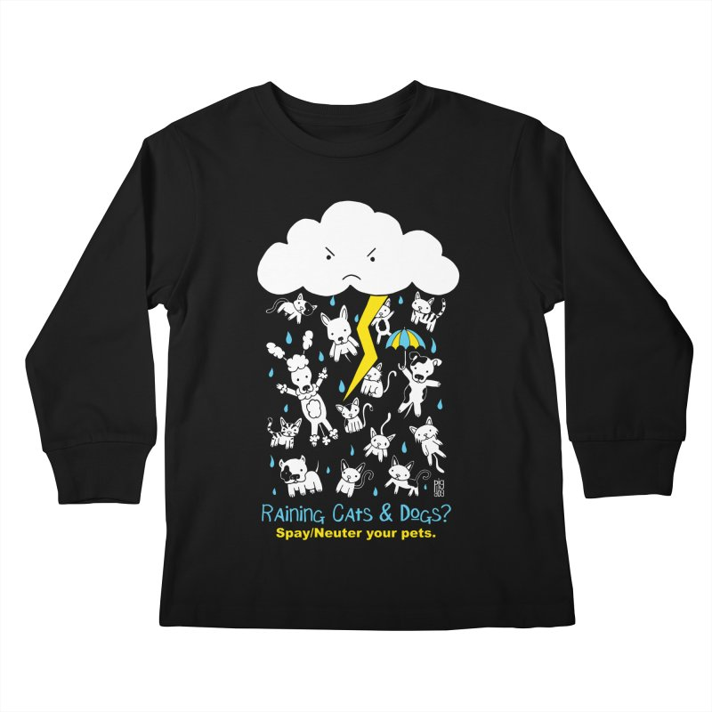 Raining Cats And Dogs Kids Longsleeve T-Shirt by Pigdog